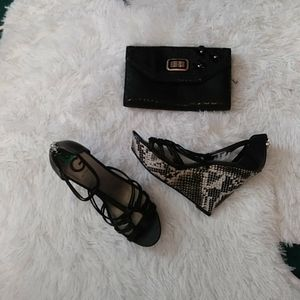 Guess shoes & clutch